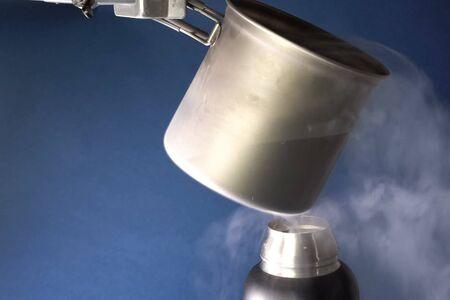 Liquid air, pouring liquefied air Stock fotó