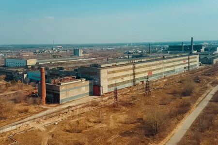 Old Soviet factories in Dzerzhinsk. Chemical factory. 免版税图像