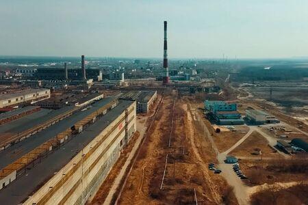 Old Soviet factories in Dzerzhinsk. Chemical factory. Stock fotó