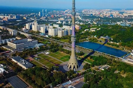 Ostankino television tower. A birds-eye view of the TV tower and its surroundings. Stock fotó