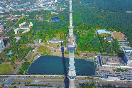 Ostankino television tower. A bird's-eye view of the TV tower and its surroundings.