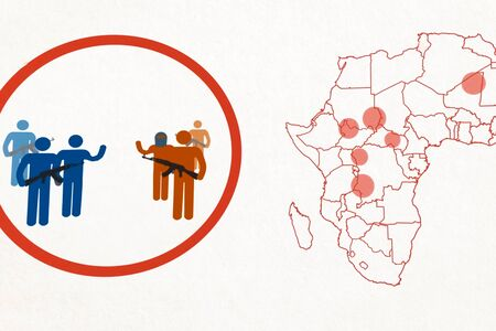 Outline map of conflict zones in Africa. Terrorism on the African continent.