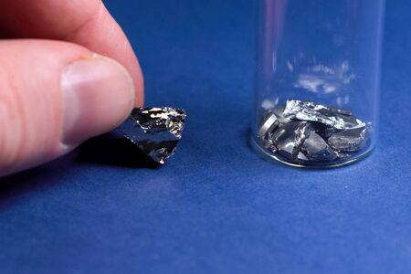 Pieces of germanium metal. Rare earth metal