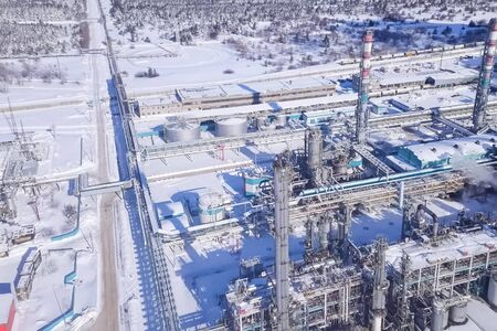 top view of the oil refinery and petrochemical plant in winter.