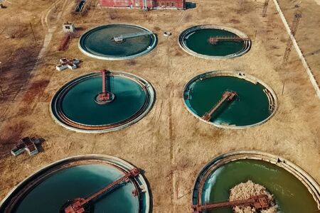 Wastewater treatment pools. Treatment facilities, wastewater treatment infrastructure. Sewage treatment Imagens