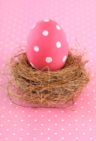Painted pink Easter Egg in nest.
