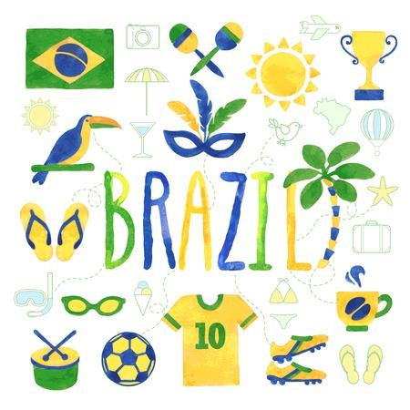 brazil beach swimsuit: Watercolor Brazil icons - vector