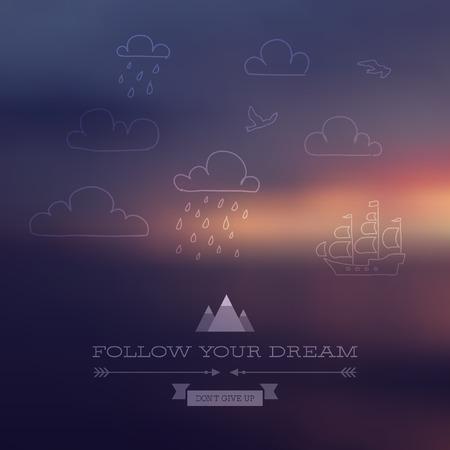 벡터 포스터 여행 테마