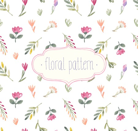 Vector Watercolor seamless floral pattern.