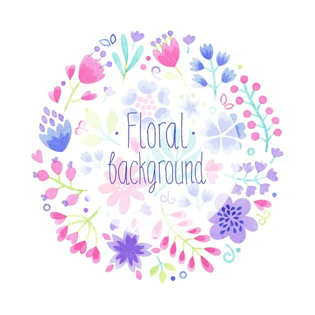 Vector Watercolor floral background.