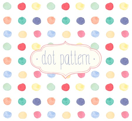 Vector Watercolor seamless dot pattern.