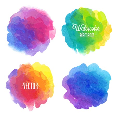 rainbow colors: Vector Watercolor design elements.