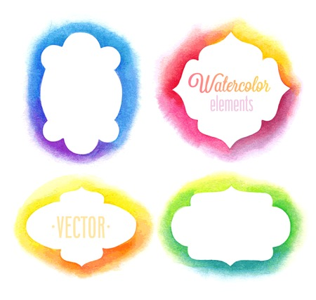 Vector Watercolor design elements  frames.
