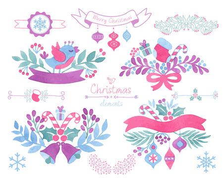 Vector Watercolor christmas design elements.