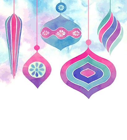 Vector Watercolor christmas card. Vector illustration.
