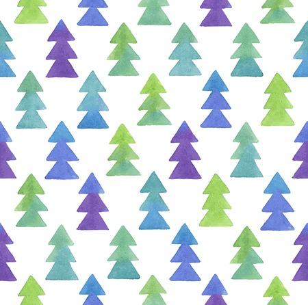 Seamless Christmas watercolor pattern. Vector illustration. Illustration