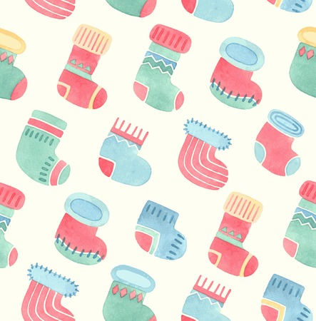 Seamless Christmas watercolor pattern. Vector illustration. Иллюстрация