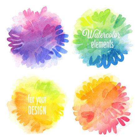 circle shape: Vector Watercolor design elements.