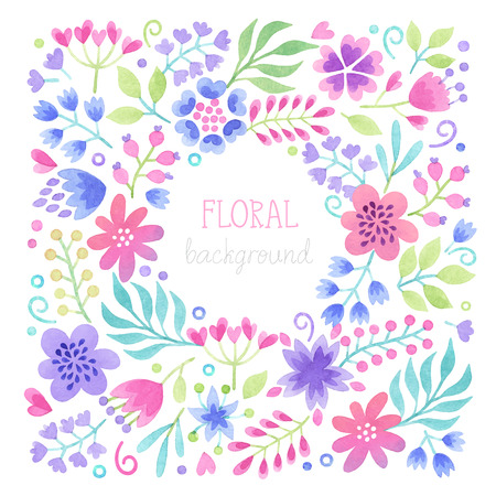 Vector Watercolor floral background with place for text. Иллюстрация