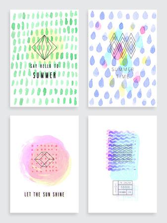 카드의 손으로 그린 수채화 세트. 포스터, 전단지 및 다른 디자인을위한 벡터 템플릿입니다. 일러스트