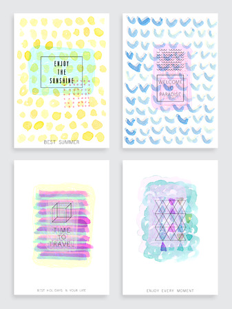 fashion set: Hand drawn watercolor set of cards. Vector template for posters, flyers and other designs.