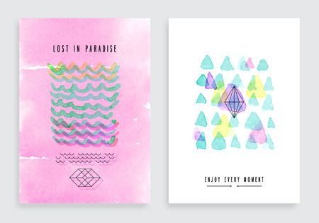 Hand drawn watercolor cards. Vector template for posters, flyers and other designs. Иллюстрация