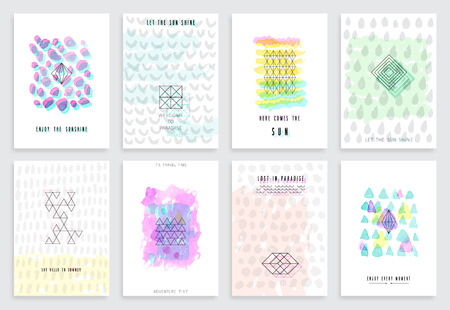 simple background: Hand drawn watercolor set of cards. Vector template for posters, flyers and other designs.