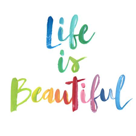 """""""인생은 아름답다""""붓글씨 포스터. 벡터 일러스트 레이 션. 일러스트"""