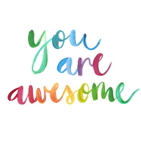 You are awesome calligraphic poster. Vector illustration. 向量圖像