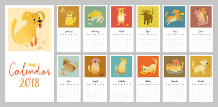 Calendar 2018. Cute monthly calendar with Watercolor dogs. Vector illustration.