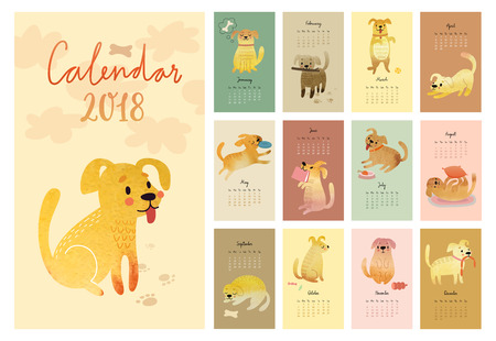 달력 2018입니다. 수채화 개 귀여운 월별 달력입니다. 벡터 일러스트 레이 션.