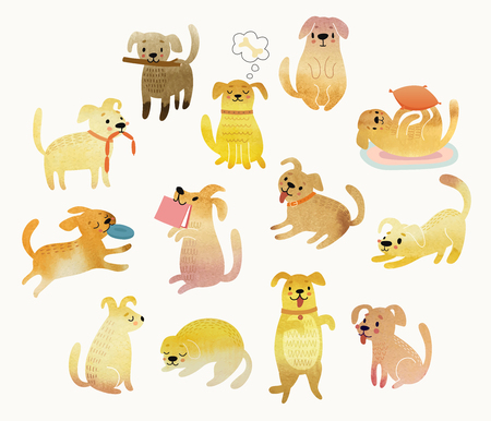 귀여운 수채화 노란 개입니다. 벡터 일러스트 레이 션.