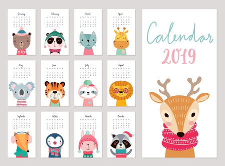 Calendar 2019. Cute monthly calendar with animals. Hand drawn characters. Vector illustration. Vector Illustratie