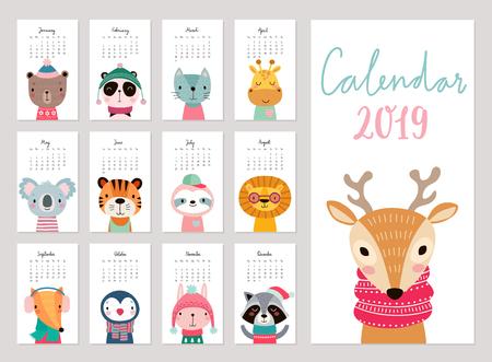 Calendrier 2019. Calendrier mensuel mignon avec des animaux. Personnages dessinés à la main. Illustration vectorielle. Vecteurs