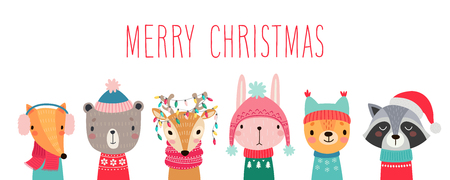 PrintChristmas card with Cute animals. Hand drawn characters. Greeting flyers. Vector illustration.