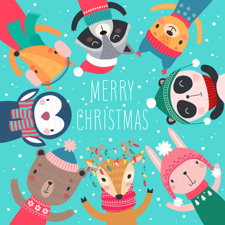 Christmas card with Cute animals. Hand drawn characters. Greeting flyers. Vector illustration.