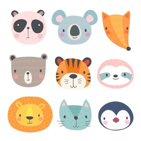 Cute animals. Hand drawn characters. Vector illustration. Illustration