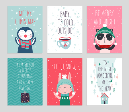 Christmas card set with Cute animals. Hand drawn characters. Greeting flyers. Vector illustration. Illustration