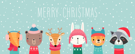 Christmas card with Cute animals. Hand drawn characters. Greeting flyers. Vector illustration