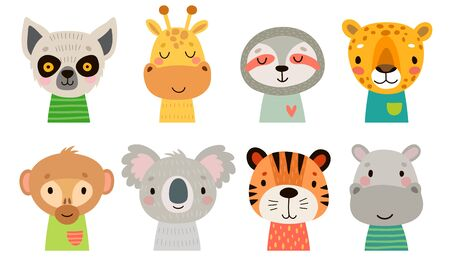 Cute Jungle animal faces. Hand drawn characters. Sweet funny animals. Vector illustration.