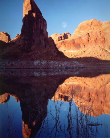 Moonrise reflections across Lake Powell, Page, Arizona.