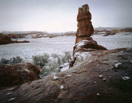Canyonlands National Park Spring Snowstorm, Moab, Utah. Zdjęcie Seryjne
