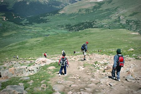 Mountain Summit Hikers Summer. Colorado Summer Mountain Backcountry Scene. Great for themes of nature, summer, mountains, outdoor rereation, travel destinations, background scenics.