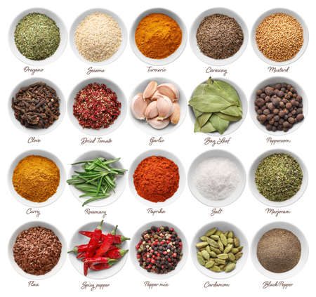 Collage of various spices and herbs in bowls isolated on white background. Top view.