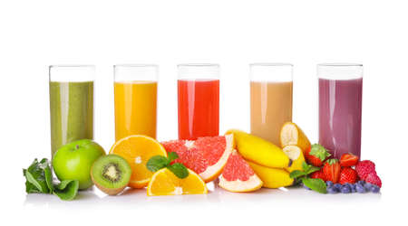 Set of fruit juices in glasses isolated on white background.