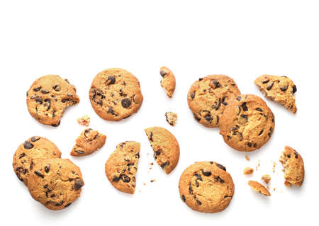Chocolate chip cookies isolated on white background. Top view. Stock Photo