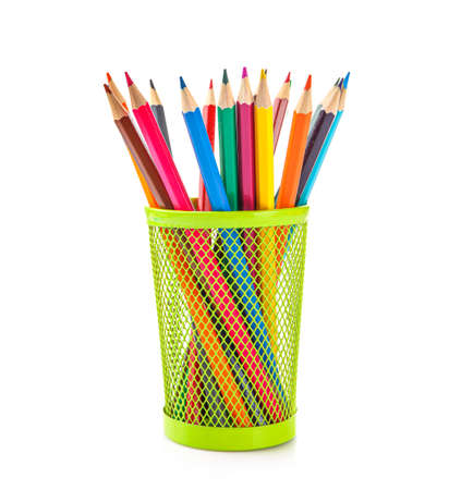 Colored pencils in pencil case isolated on white background. Banque d'images