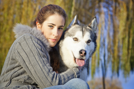 Woman with Dog Outdoors, Croatia