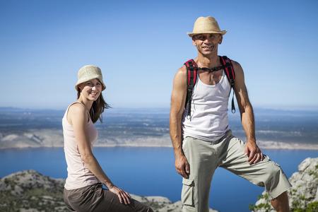 Croatia, Paklenica, Couple in mountain scenery