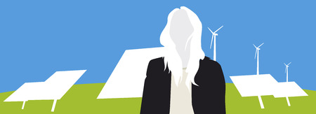 environmentalist: Solar panels, wind turbines and a female silhouette, illlustration